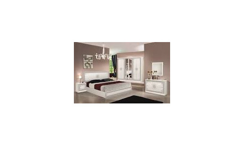 Chambre 6 pièces LUNA BLANC/ARGENT...